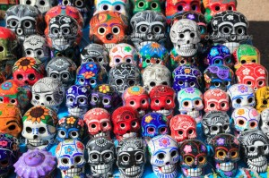 Mexican-skulls-colorful-ceramic-Day-of-the-Dead