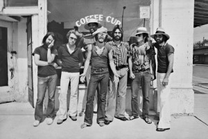 Bruce Springsteen and The E Street band B:W outside Coffee House